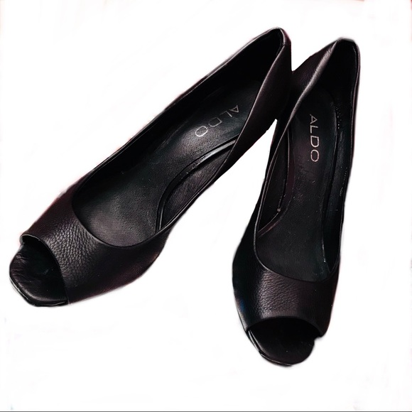 Aldo Shoes - Elegant Open Toe Black Wedges